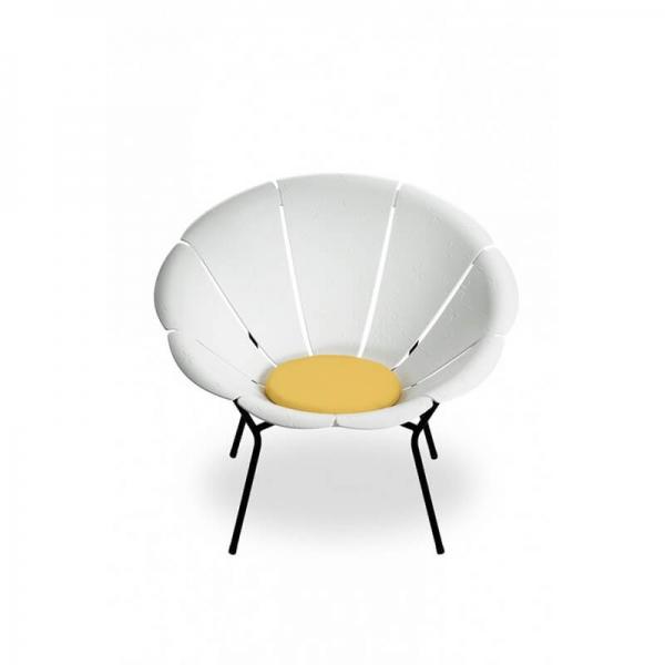 Fauteuil en forme de fleur blanc made in France - Yéyé Grosfillex - 11
