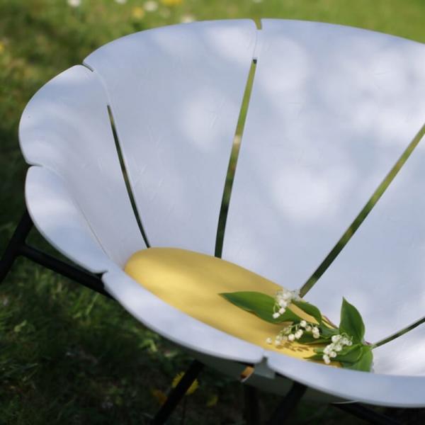 Fauteuil de jardin vintage blanc made in France - Yéyé Grosfillex - 5