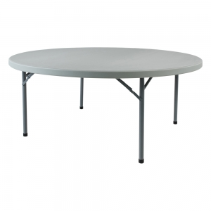 Table pliante ronde en plastique et métal gris clair - Planet