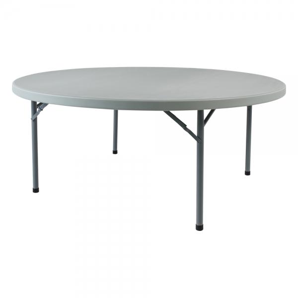 Table pliante ronde en plastique et métal gris clair - Planet - 1