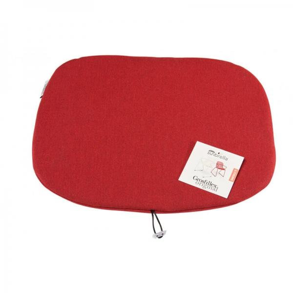 Coussin de fauteuil rouge chiné - Ramatuelle Grosfillex - 48