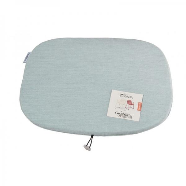 Coussin de fauteuil en tissu bleu chiné - Ramatuelle Grosfillex - 38