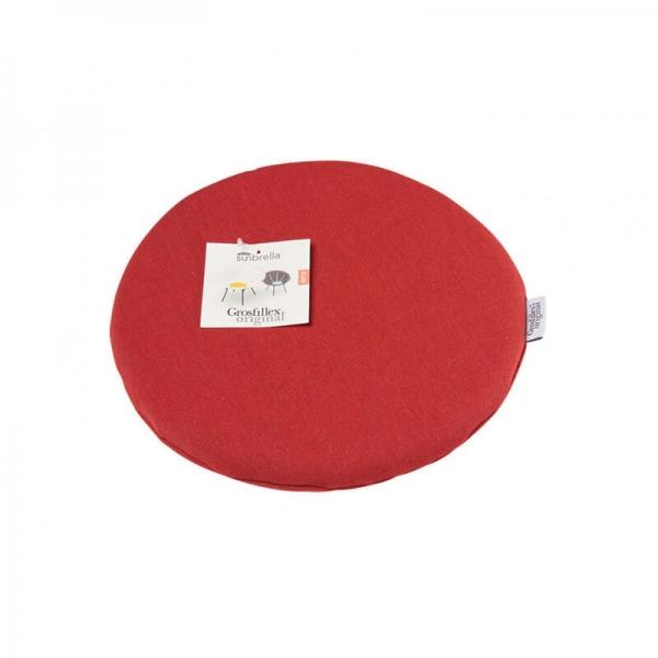 Coussin de fauteuil en tissu rouge chiné - Yéyé Grosfillex - 18