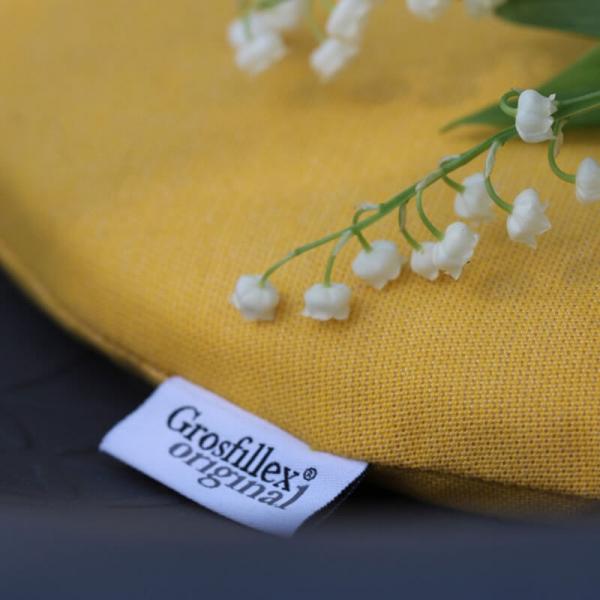 Coussin en tissu jaune chiné - Yéyé Grosfillex - 24