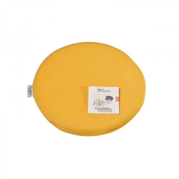 Galette de fauteuil en tissu jaune chiné - Yéyé Grosfillex - 26