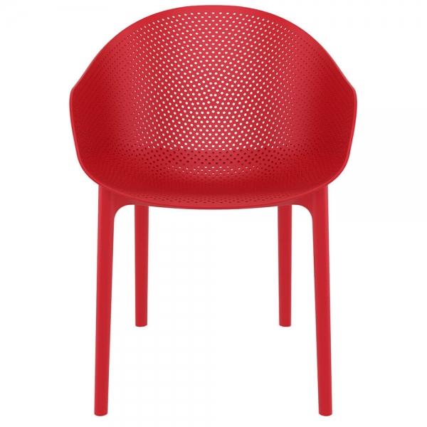 Fauteuil design pour terrasse en plastique rouge - Sky - 28