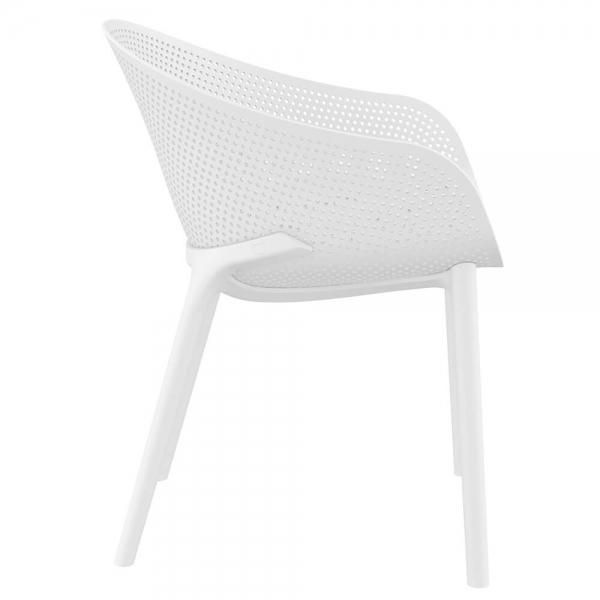 Fauteuil design pour extérieur en plastique blanc - Sky - 33