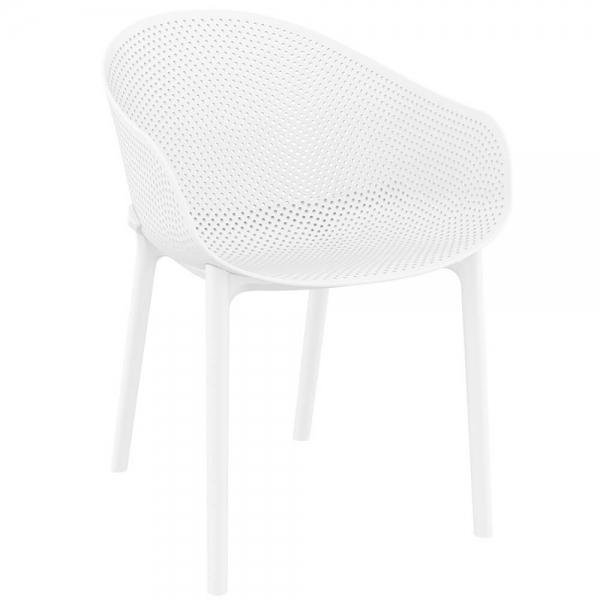 Fauteuil design pour jardin en plastique blanc - Sky - 31