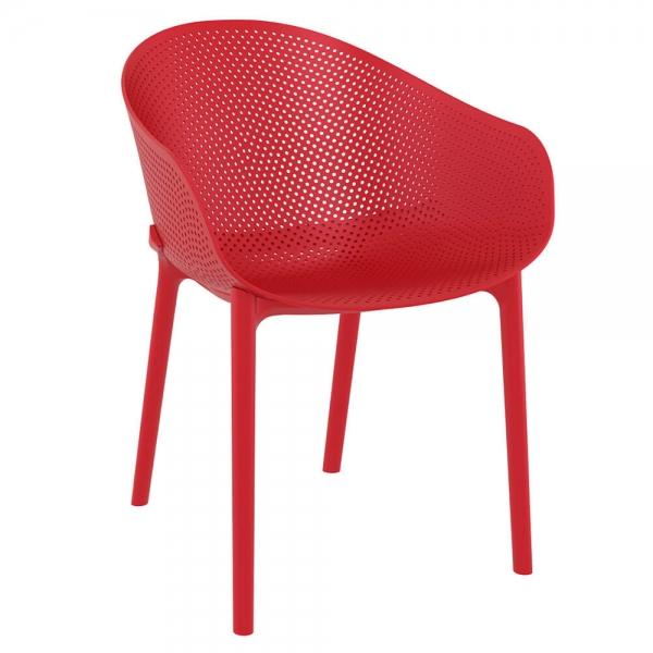 Fauteuil design pour jardin en plastique rouge - Sky - 26