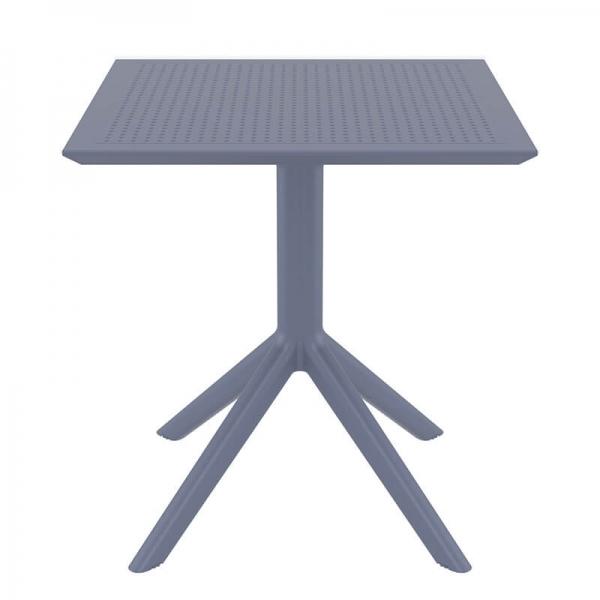 Petite table pour le jardin carrée en résine grise - Sky - 9