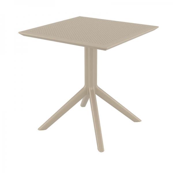 Petite table d'extérieur carrée en résine taupe - Sky - 13
