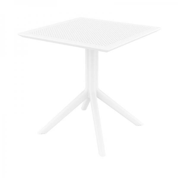 Petite table de terrasse carrée en résine blanche - Sky - 11