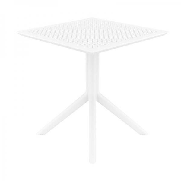 Petite table d'extérieur carrée en résine blanche- Sky - 10