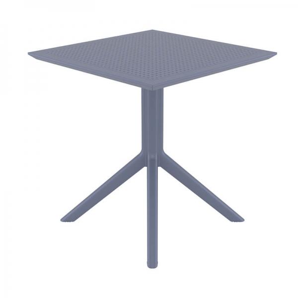 Petite table de terrasse carrée en résine grise - Sky - 8