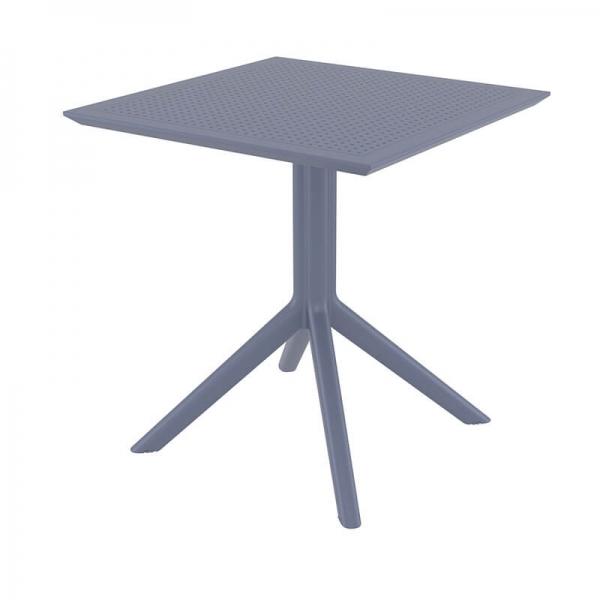 Petite table d'extérieur carrée en résine grise - Sky - 7