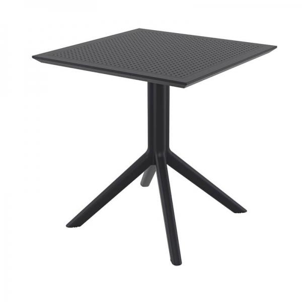 Petite table de jardin carrée en résine noire - Sky - 16