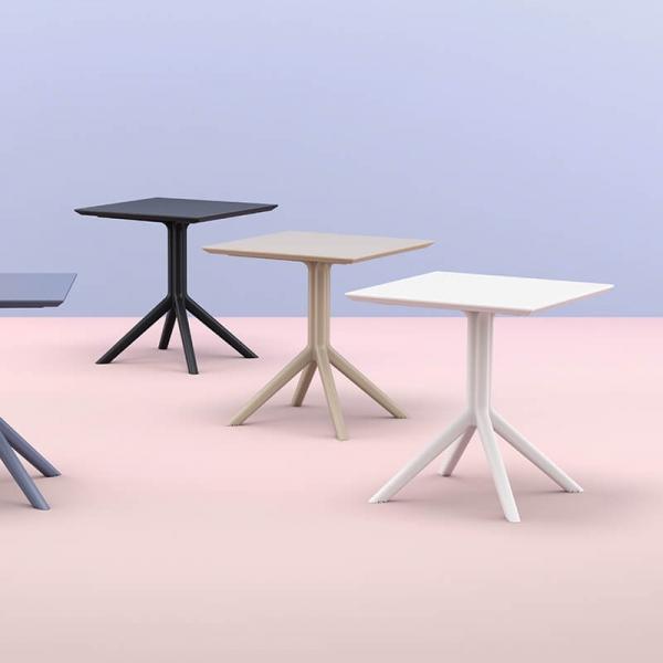 Petite table de jardin carrée en résine  - Sky - 6
