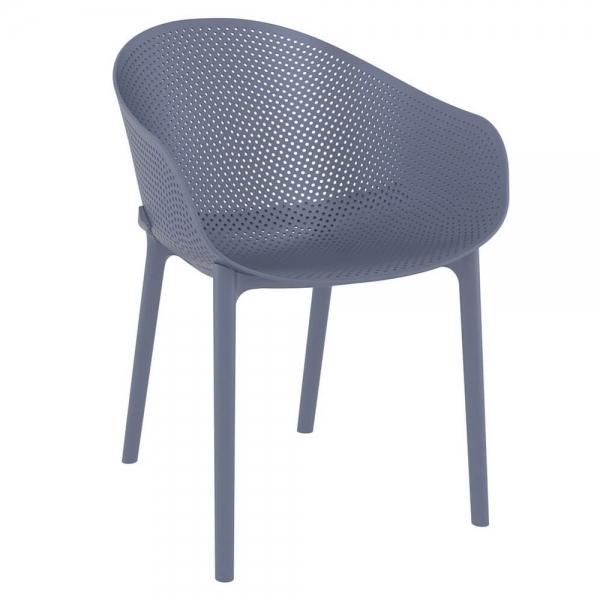Fauteuil design en polypropylène gris - 12