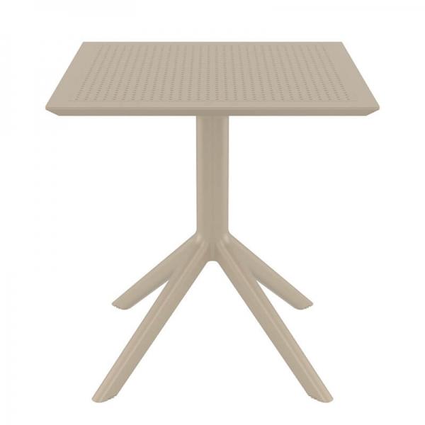 Petite table carrée en résine taupe - Sky - 8
