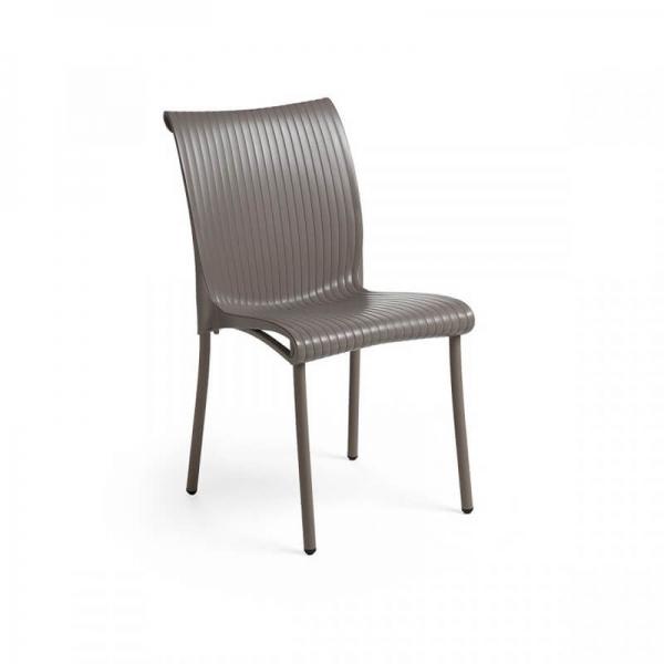 Chaise de jardin vintage empilable en polypropylène taupe - Regina - 1