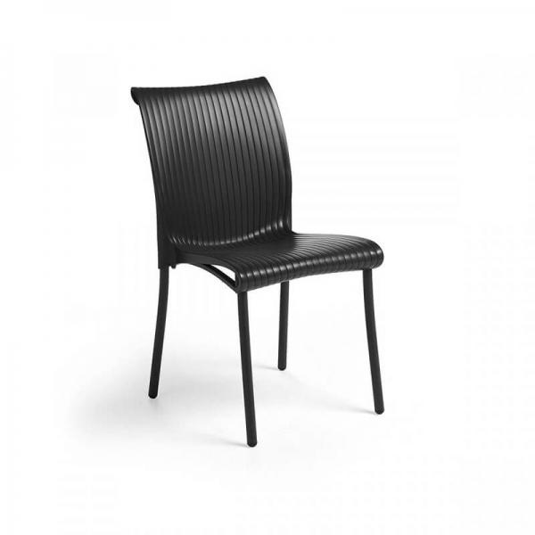 Chaise de jardin vintage empilable en polypropylène anthracite - Regina - 3
