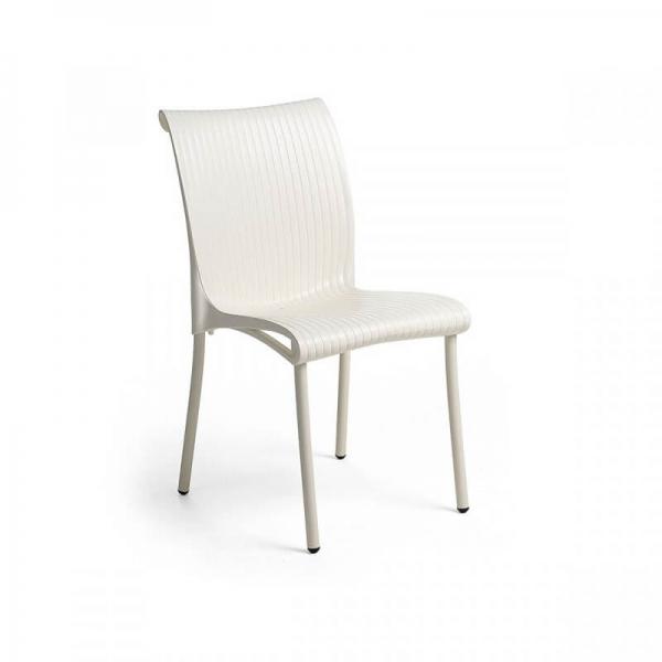 Chaise de jardin vintage empilable en polypropylène blanc - Regina - 5
