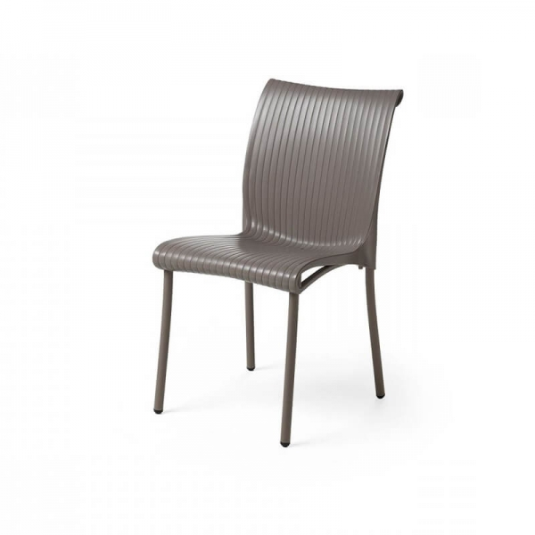 Chaise de jardin vintage empilable en polypropylène taupe - Regina - 2