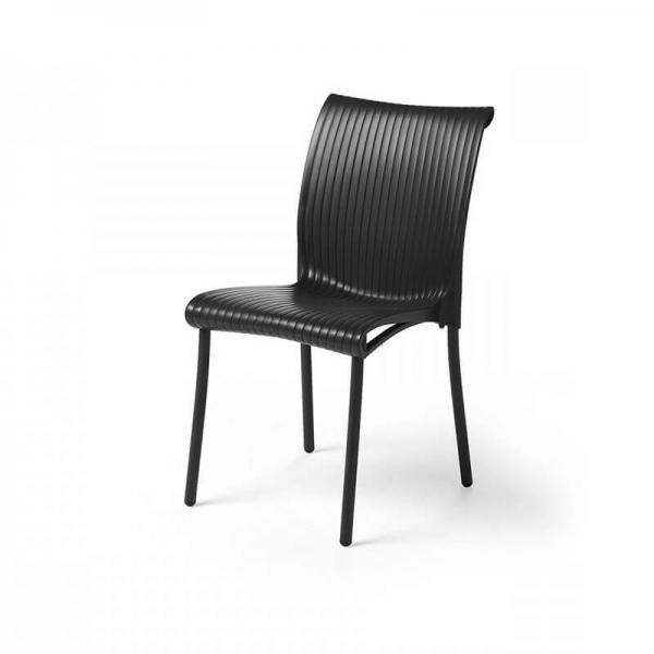 Chaise de jardin vintage empilable en polypropylène anthracite - Regina - 4
