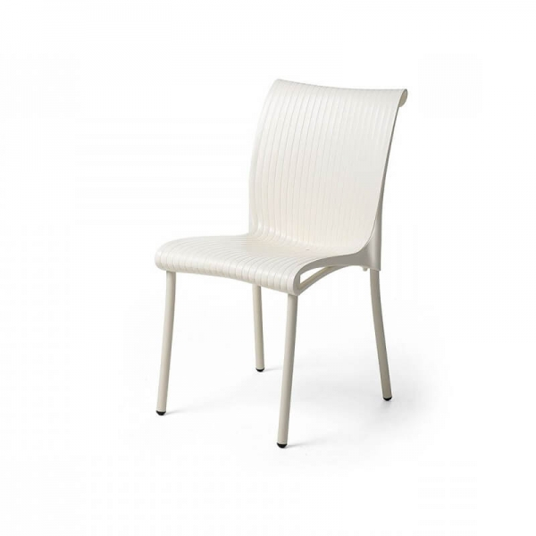 Chaise de jardin vintage empilable en polypropylène blanc - Regina - 6