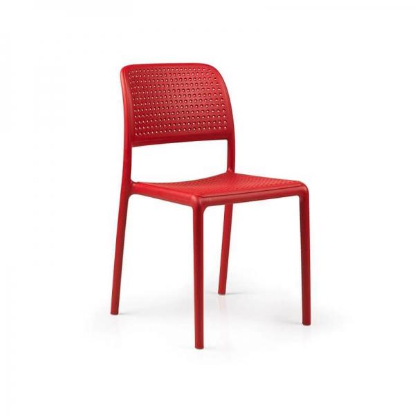 Chaise en polypropylène rouge - Bora Bistrot - 22