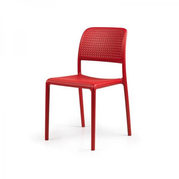 Chaise en polypropylène rouge - Bora Bistrot - 23