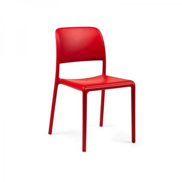 Chaise d'extérieur en plastique rouge - Riva Bistrot - 3