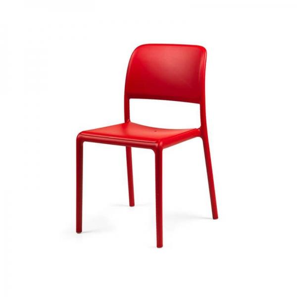 Chaise d'extérieur en plastique rouge - Riva Bistrot - 4
