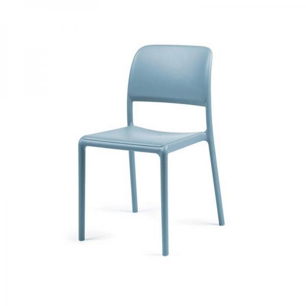 Chaise d'extérieur en plastique bleu - Riva Bistrot - 6