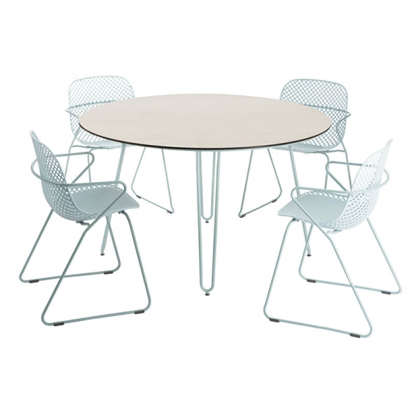 Chaise empilable avec accoudoirs bleue fabrication française - Ramatuelle Grosfillex - 8