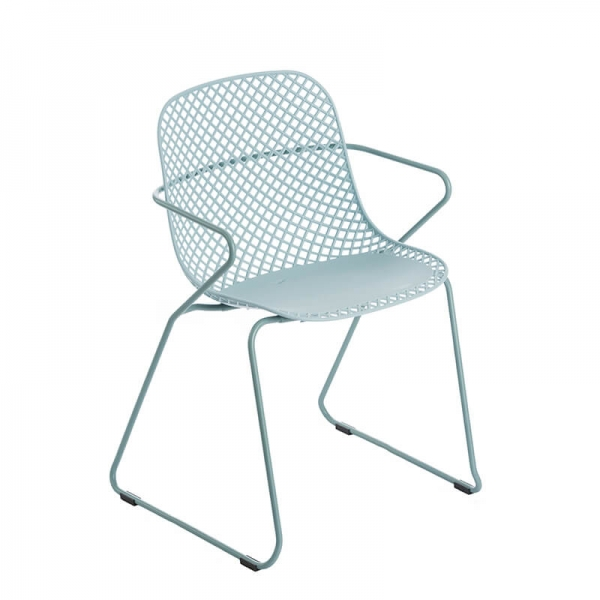 Chaise de jardin bleue design avec pieds traîneau - Ramatuelle Grosfillex - 33