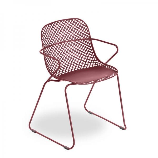 Chaise de jardin rouge fabrication française - Ramatuelle Grosfillex - 23