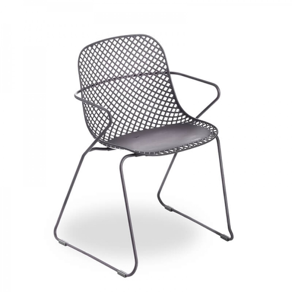 Chaise de jardin grise ajourée - Ramatuelle Grosfillex - 13