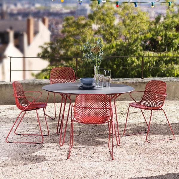 Table ronde de jardin design de fabrication française - Ramatuelle Grosfillex - 1