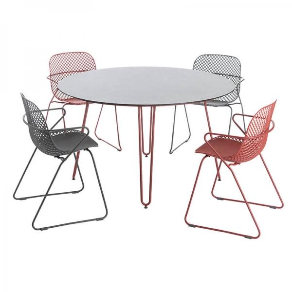 Table de jardin en métal ronde pieds rouges - Ramatuelle Grosfillex - 11
