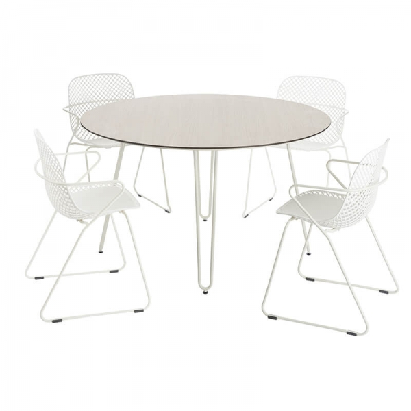 Table ronde pieds métal crème made in France - Ramatuelle Grosfillex - 7