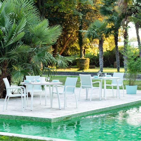 Fauteuil de fabrication française turquoise et blanc pour le jardin - Sunset Grosfillex  - 3