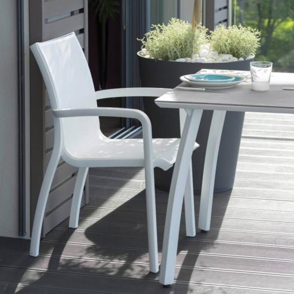 Fauteuil de terrasse en textilène blanc empilable - Sunset - 2