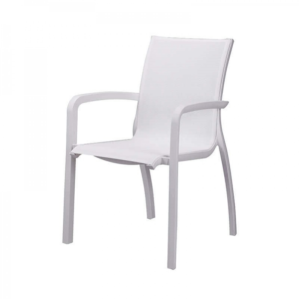 Fauteuil de jardin contemporain empilable blanc - Sunset Grosfillex - 8