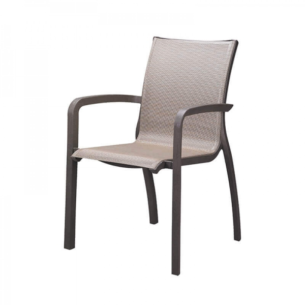 Fauteuil de terrasse beige foncé empilable made in France - Sunset Grosfillex - 23