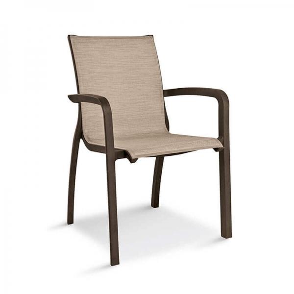 Fauteuil de jardin en textilène brun - Sunset Grosfillex - 24