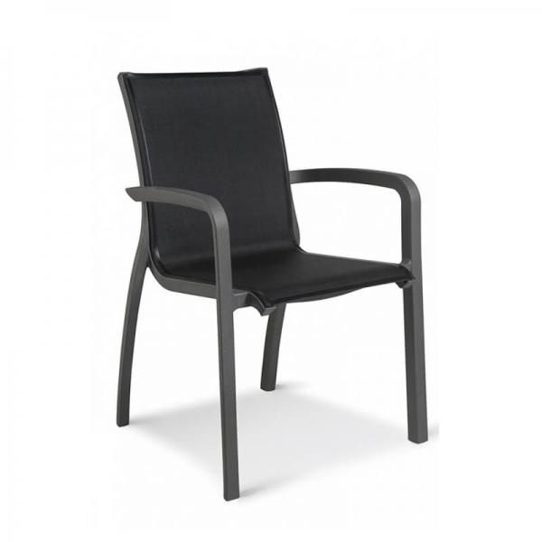 Fauteuil de jardin noir en toile fabrication française - Sunset Grosfillex - 16