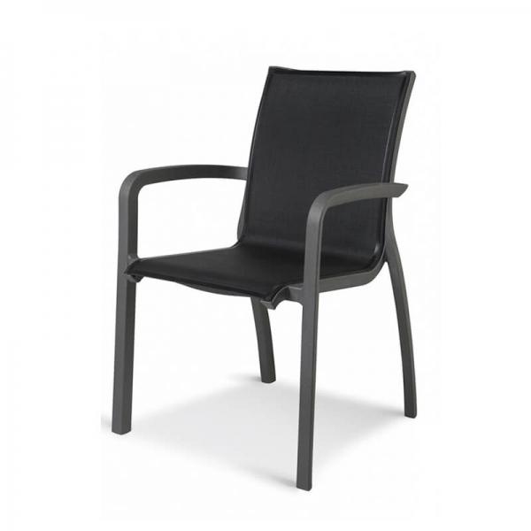 Fauteuil d'extérieur contemporain empilable en toile noir - Sunset Grosfillex - 17