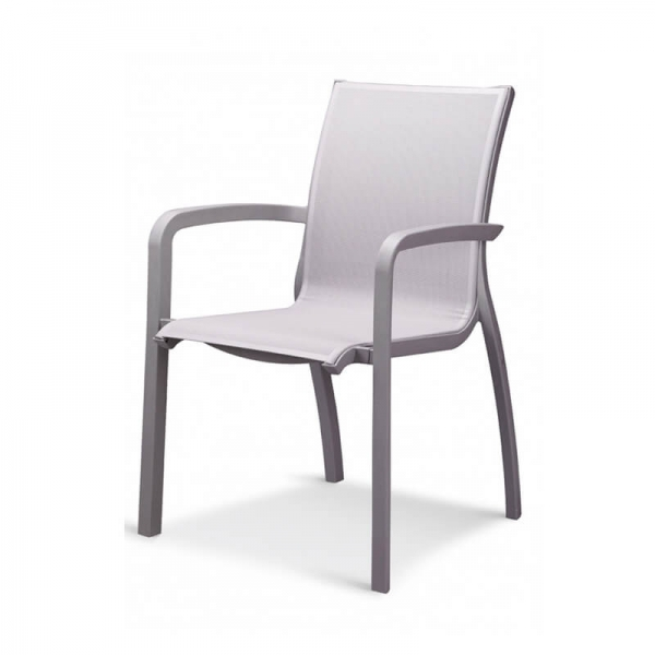 Fauteuil de jardin gris empilable made in France - Sunset Grosfillex - 14