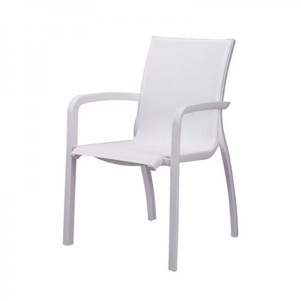 Fauteuil en textilène blanc empilable de fabrication française - Sunset Grosfillex - 4